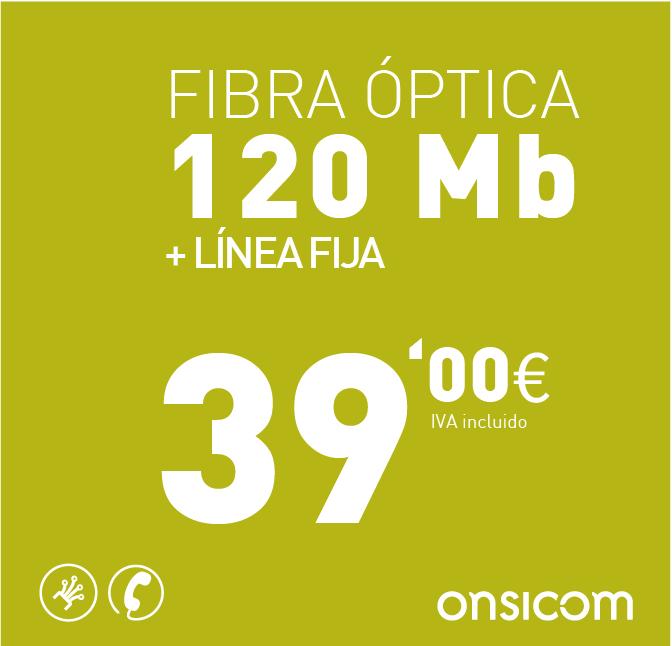 Fibra óptica simétrica 120 Mb + Línea fija