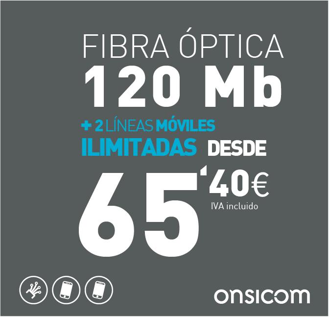 Fibra óptica simétrica 120 Mb + 2 líneas móviles ilimitadas