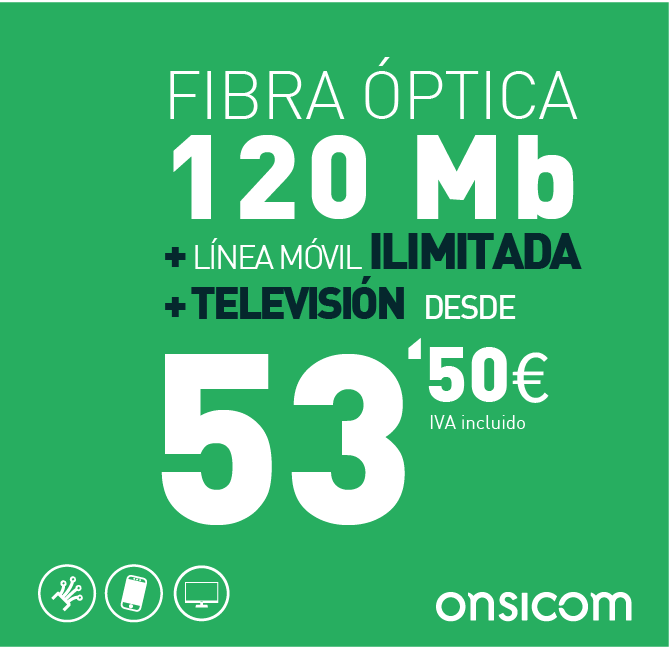 Fibra óptica simétrica 120 Mb + TV  + línea móvil ilimitada