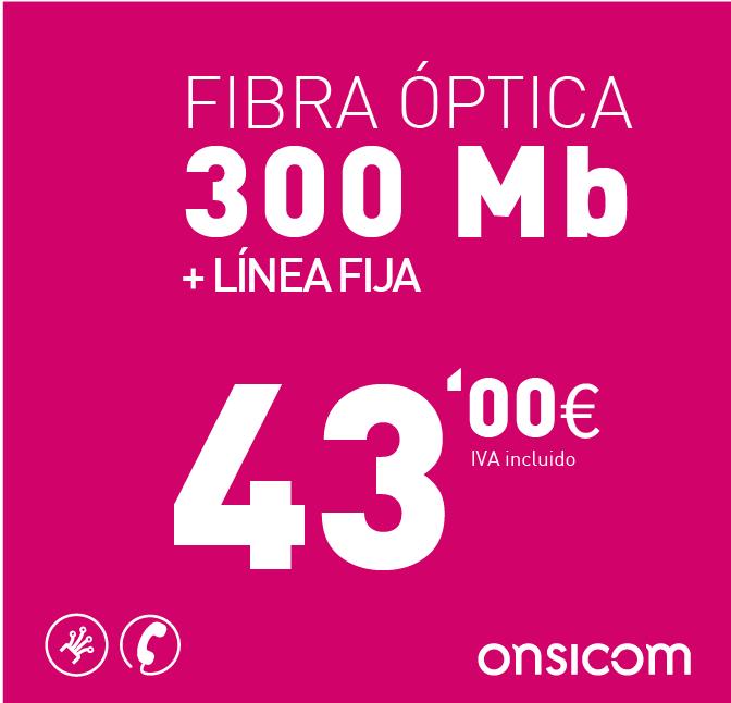 Fibra óptica simétrica 300 Mb + Línea fija
