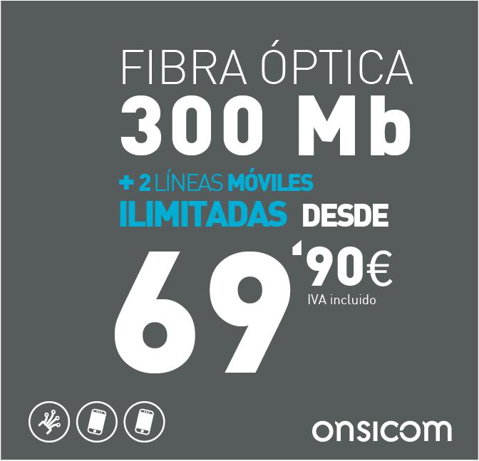 Fibra óptica simétrica 300 Mb + 2 líneas móviles ilimitadas