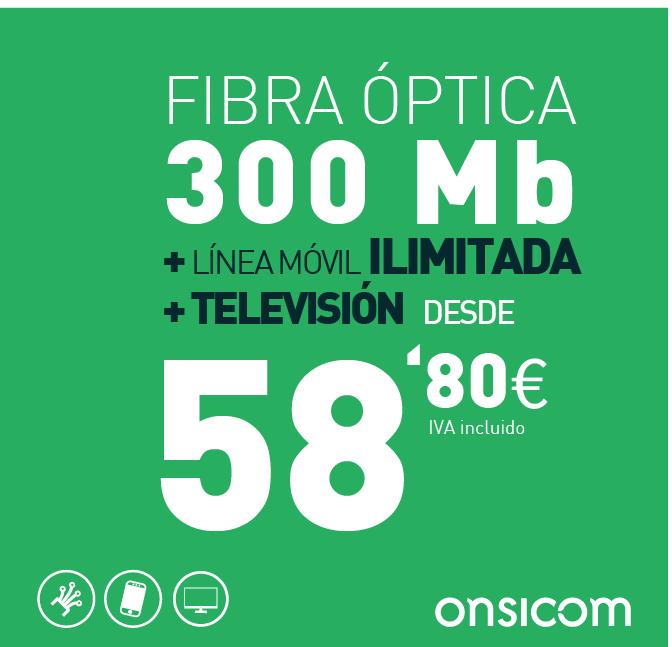 Fibra óptica simétrica 300 Mb + TV  + línea móvil ilimitada