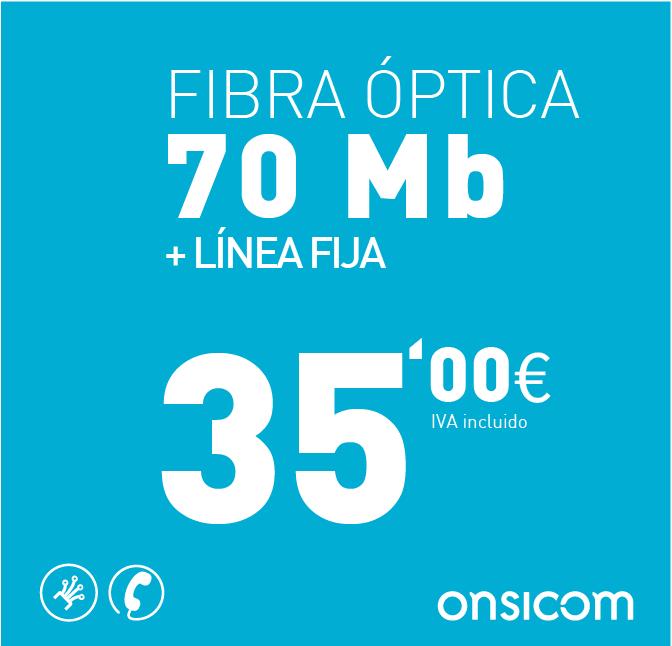 Fibra óptica simétrica 70 Mb + Línea fija