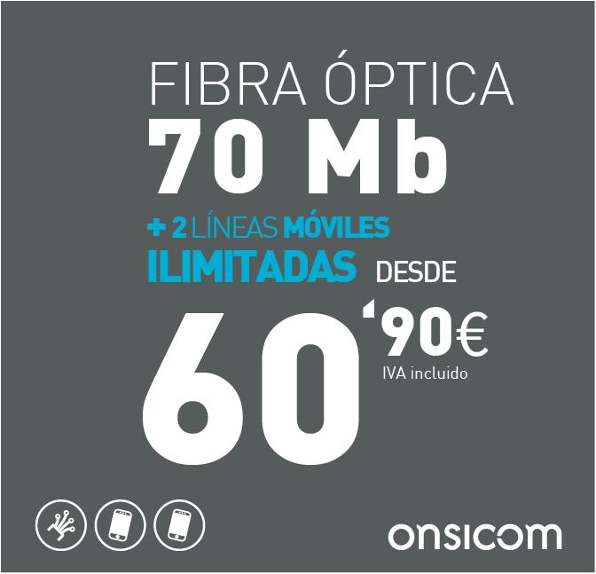Fibra óptica simétrica 70 Mb + 2 líneas móviles ilimitadas