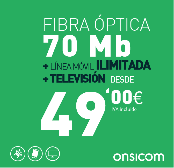 Fibra óptica simétrica 70 Mb + TV  + línea móvil ilimitada